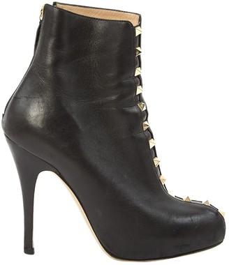 Valentino Rockstud Black Leather Ankle boots