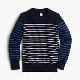 J.Crew Boys' cotton-cashmere crewneck sweater in stripe combo