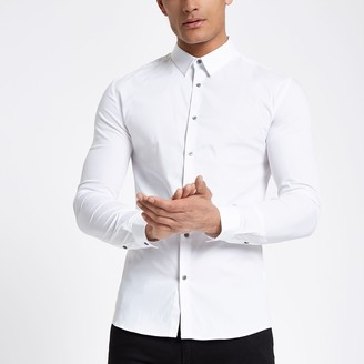River Island Mens White long sleeve muscle fit shirt