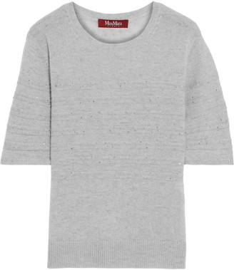 Max Mara Gerusia Crystal-embellished Ribbed Wool And Cashmere-blend Top