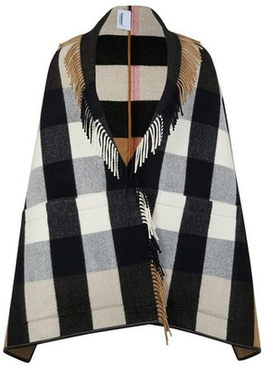 Burberry Check Wool Cashmere Jacquard Cape