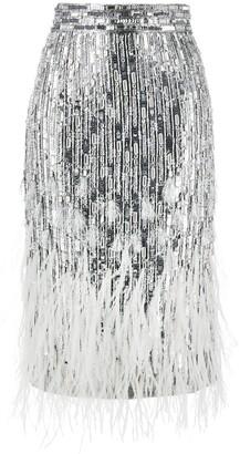Amen Feather-Trim Sequin Skirt
