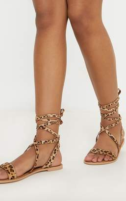 PrettyLittleThing Leopard Basic Leather Sandal