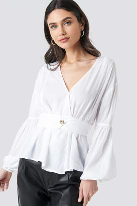 NA-KD Wrap Front Fitted Waist Blouse White