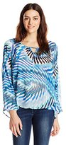 NY Collection Women's Printed Long-Sleeve Blouse with High-Low Hem