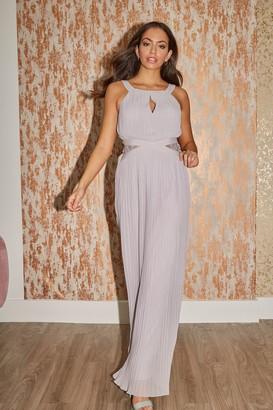 Little Mistress Bridesmaid Kellie Grey Lace Insert Pleated Maxi Dress