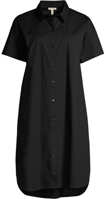 Eileen Fisher Poplin Short-Sleeve Shirtdress