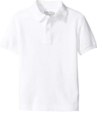 Nautica Short Sleeve Pique Polo (Little Kids) (White) Boy's Short Sleeve Pullover