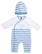 Armani Junior Long-Sleeve Striped Coverall w/ Hat, Blue, Size 1-12 Months