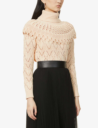 Zimmermann Turtleneck ruffle-trim cotton and linen-blend jumper