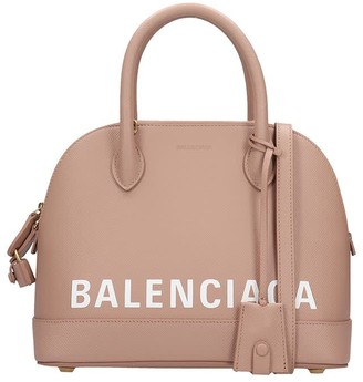 Balenciaga Ville Top Handl Hand Bag In Rose-pink Leather