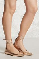 Forever 21 FOREVER 21+ Metallic Lace-Up Ballet Flats