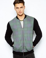 Asos Bomber In Jersey With Check Front Panel
