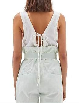 Bassike Jersey Linen Tie Back Tank