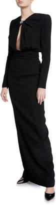 Saint Laurent Crepe Keyhole-Front Long-Sleeve Gown