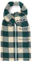 Acne Studios Cassiar Flocked-logo Checked Wool Scarf - Womens - Green