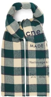 Acne Studios Cassiar Flocked-logo Checked Wool Scarf - Green