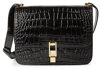 Saint Laurent Carre Croc-Embossed Leather Shoulder Bag