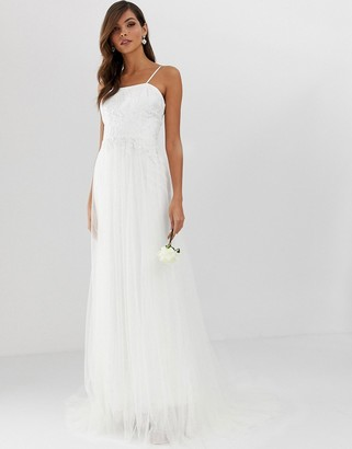 Asos Edition EDITION pretty mesh and lace layered wedding dress-White