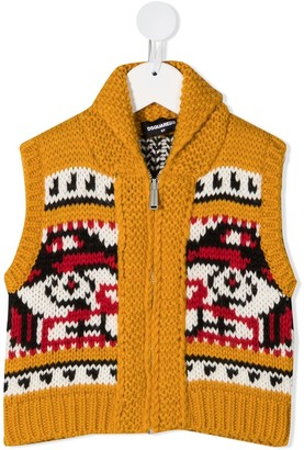 DSQUARED2 Intarsia-Knit Vest Jacket