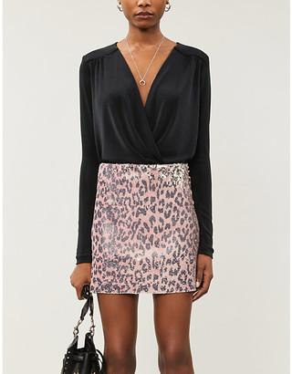 Free People Animal-print high-waist sequinned skirt