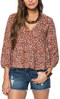 O'Neill Dasha Printed V-Neck Peasant Top
