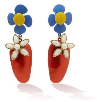 Saint Laurent Resin Flower Clip Earrings - Red Multi