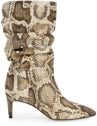 Paris Texas Python-Embossed Leather Boots