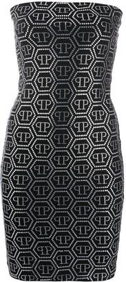 Philipp Plein Logo Studded Bandeau Dress