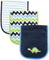 Luvable Friends 3 Piece Burp Cloth with Fiber Filling, Dinosaur