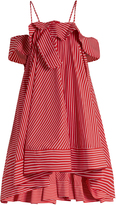 MSGM Open-shoulder striped cotton dress