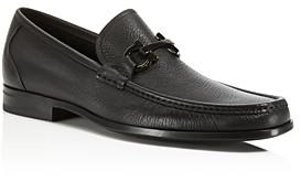 Salvatore Ferragamo Men's Grandioso Calfskin Leather Loafers with Double Gancini Bit - Regular