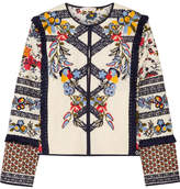 Tory Burch Amber Embroidered Printed Canvas Jacket - Ivory