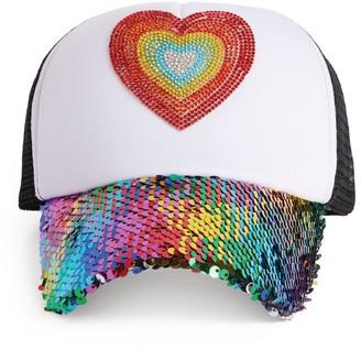 Bari Lynn Sequin Heart Cap