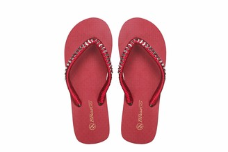 Walk Diary Womens Sandals Slim Flip Flops Beach and Pool Shoes Red