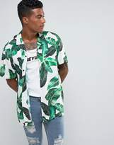 Jaded London Shirt In White With Tropical Leaf Print Reg Fit