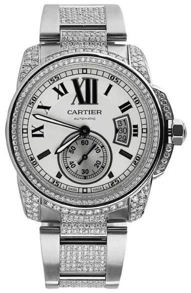Cartier Calibre Silver Opaline Automatic Mens Watch With Custom Set Diamonds