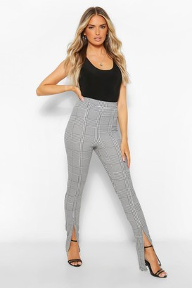 boohoo Dogtooth flannel Split Hem Slim Fit Pants