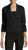 Neiman Marcus Fitted Blazer with Ruched Sleeves, Black