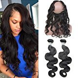 Vogue Queen Pre Plucked 360 Lace Band Frontal with Bundles Natural Hairline 2 Pcs Brazilian Unprocessed Human Hair with Front Closure 3pcs/lot (12 14 Frontal 12, Body Wave,2 Bundles with Frontal)