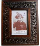 Mia Wood Inlay Picture Frame Etched Textured Carved Embossed Brown Natural 5 by 7