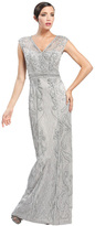 Sue Wong Cap Sleeve V-neck Long Dress in Platinum W4505