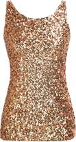 PrettyGuide Women Shimmer Glam Sequin Embellished Sparkle Tank Top Vest Tops US XS/Asian S