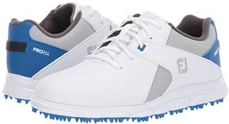 Foot Joy FootJoy Pro SL (Little Kid/Big Kid) (White/Grey/Royal Blue) Men's Golf Shoes