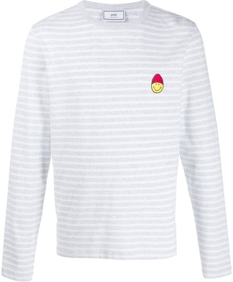 Ami Smiley patch striped long-sleeved T-shirt
