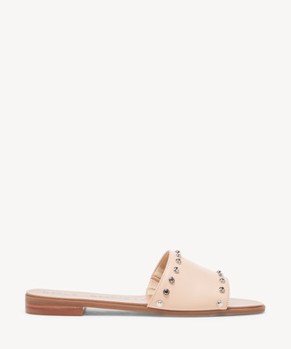 Sole Society Women's Sanjana Studded Slides Bisque Size 5 Leather From