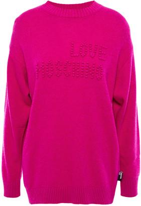 Love Moschino Pompom-embellished Melange Knitted Sweater