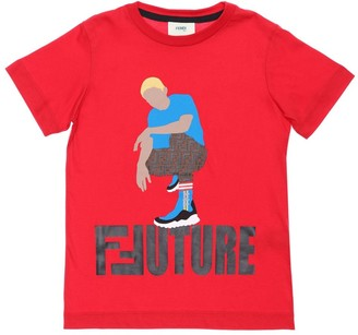 Fendi Future Printed Cotton Jersey T-shirt
