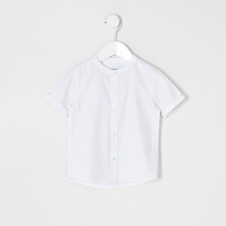 River Island Mini boys white grandad collar twill shirt