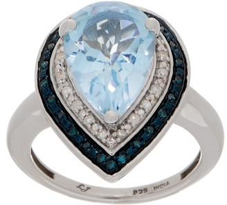 Blue Topaz Pear & Diamond Ring, 6.25 cttw Sterling Silver